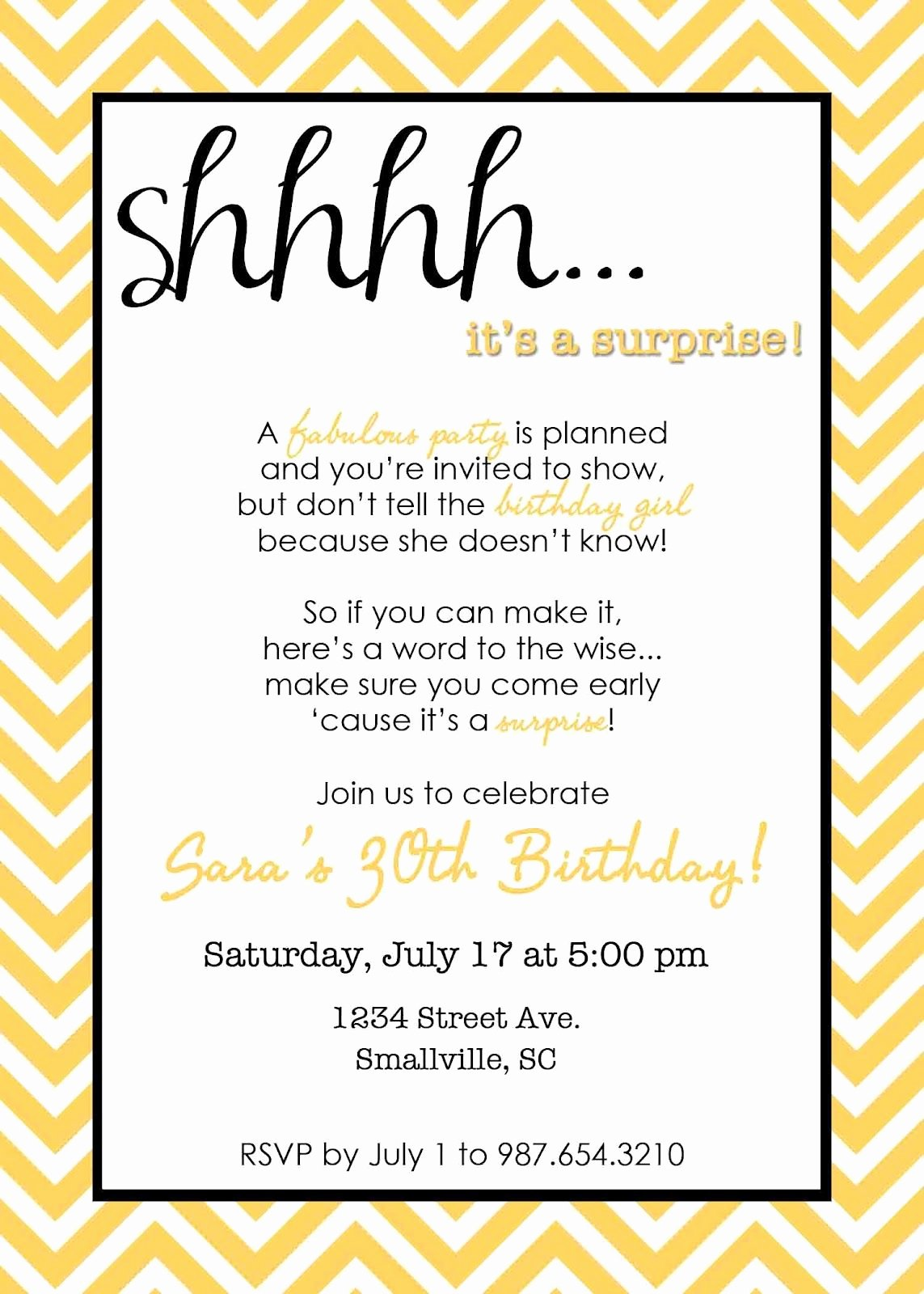 Surprise Party Invitation Templates Best Of Wording for Surprise Birthday Party Invitations In 2019