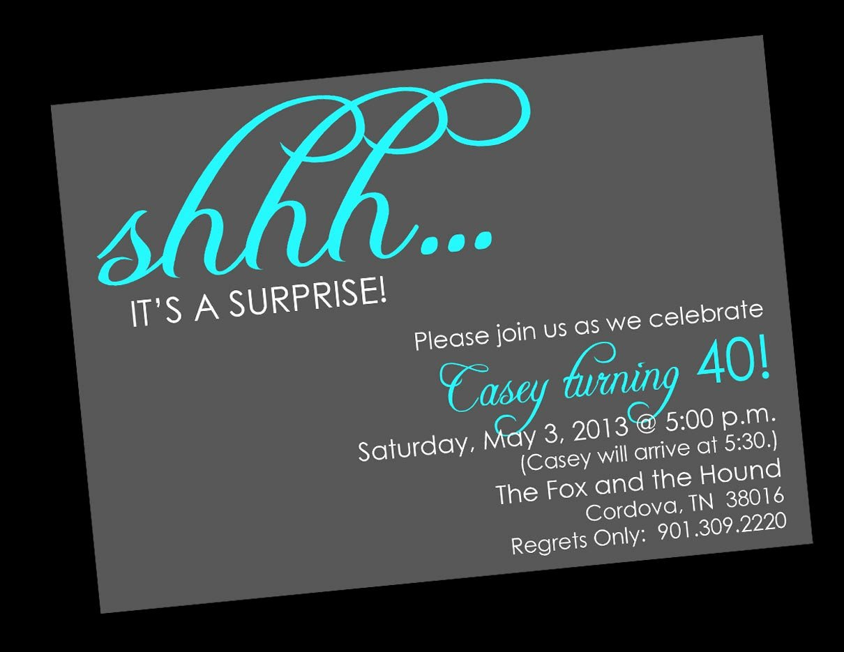 shhh surprise birthday invitations