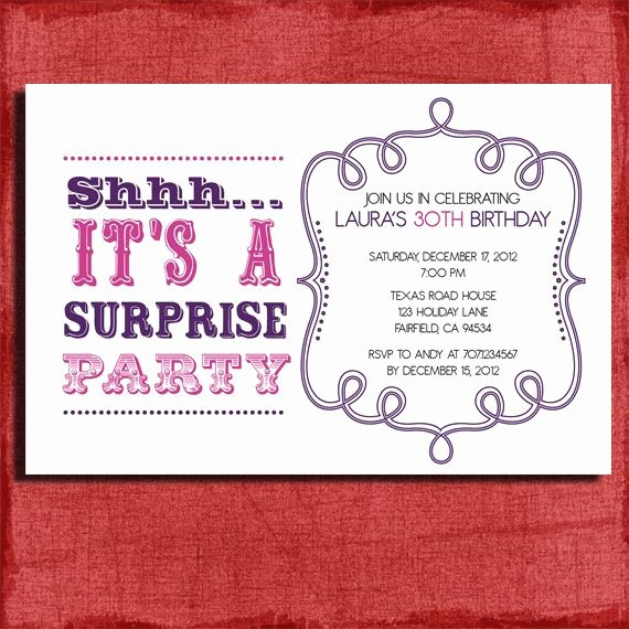 Surprise Party Invitation Templates Fresh Vintage Style Surprise Birthday Invitation 4x6 Invitation Diy Printable Party Ideas