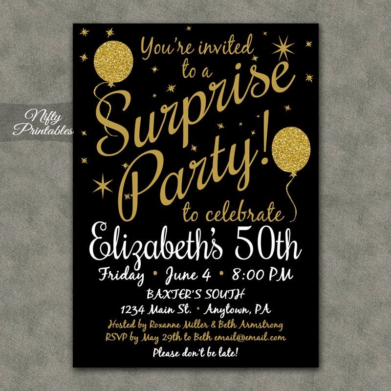 Surprise Party Invitation Templates Luxury Surprise Party Invitations Printable Black & Gold Surprise