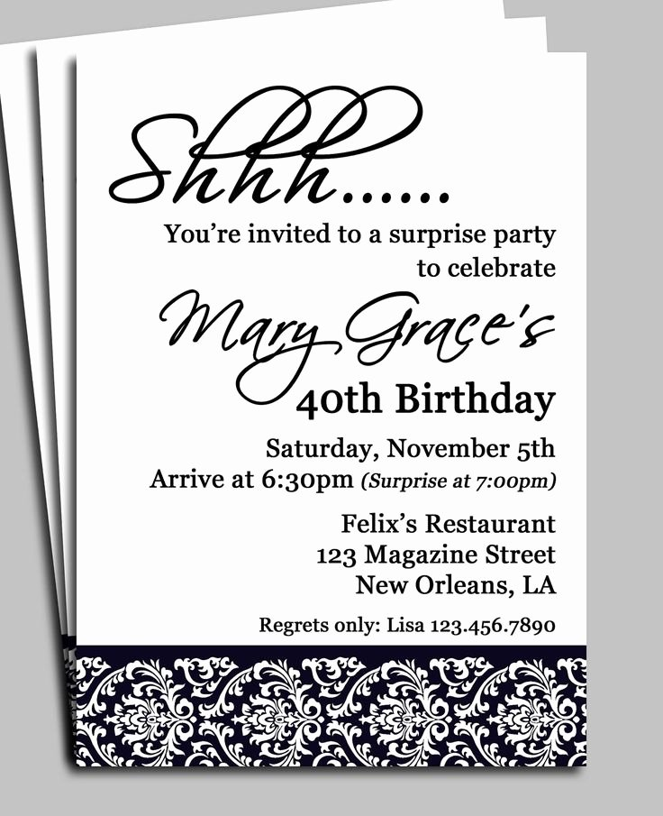 Surprise Party Invitation Templates New Invitation for Surprise Birthday Party Wording H Pinterest