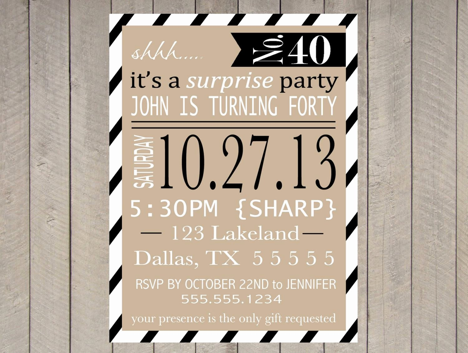 Surprise Party Invitation Templates Unique Adult Surprise Party Invitation Printable 40th Birthday 50th 60th Typography Vintage Stripe