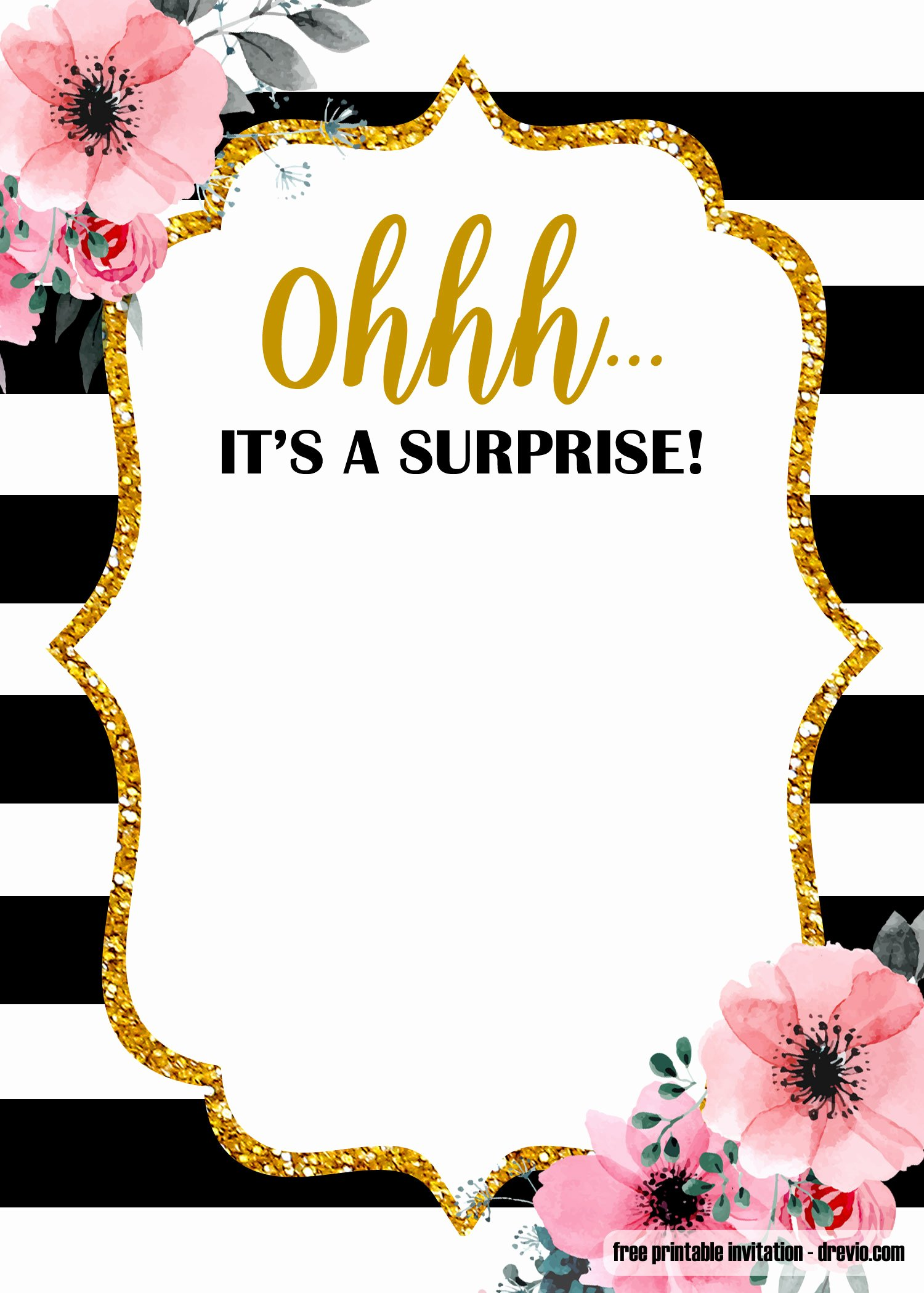 Surprise Party Invitations Templates Free Awesome Free Printable Surprise Party Birthday Invitation