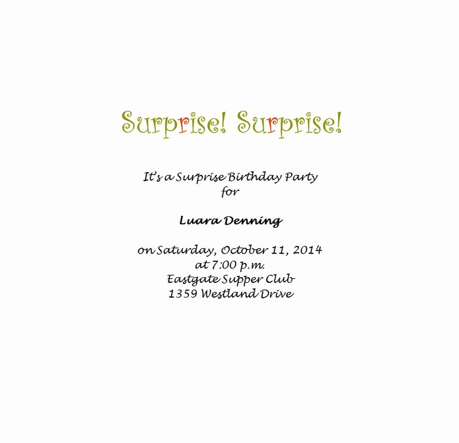 Surprise Party Invitations Templates Free Beautiful Surprise Birthday Party Invitations 7 Wording