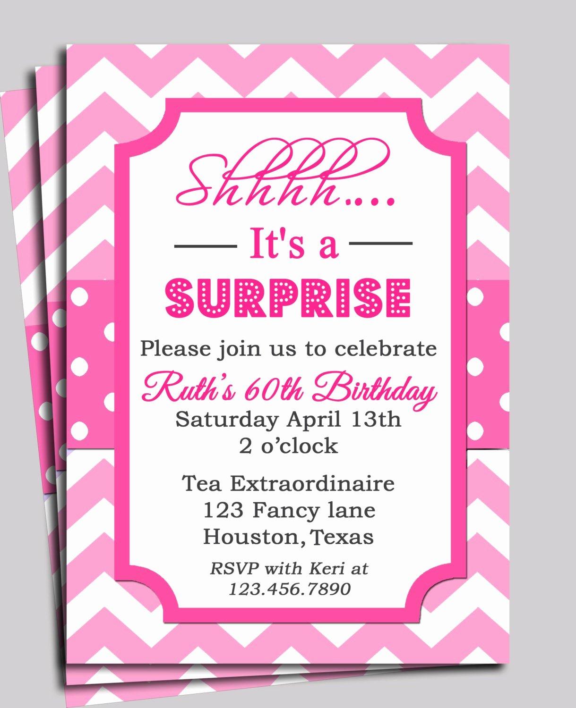 Surprise Party Invitations Templates Free Elegant Chevron Invitation Printable or Free Shipping You Pick