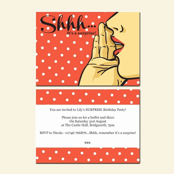 Surprise Party Invitations Templates Free Lovely Free Printable 50th Surprise Party Invitations