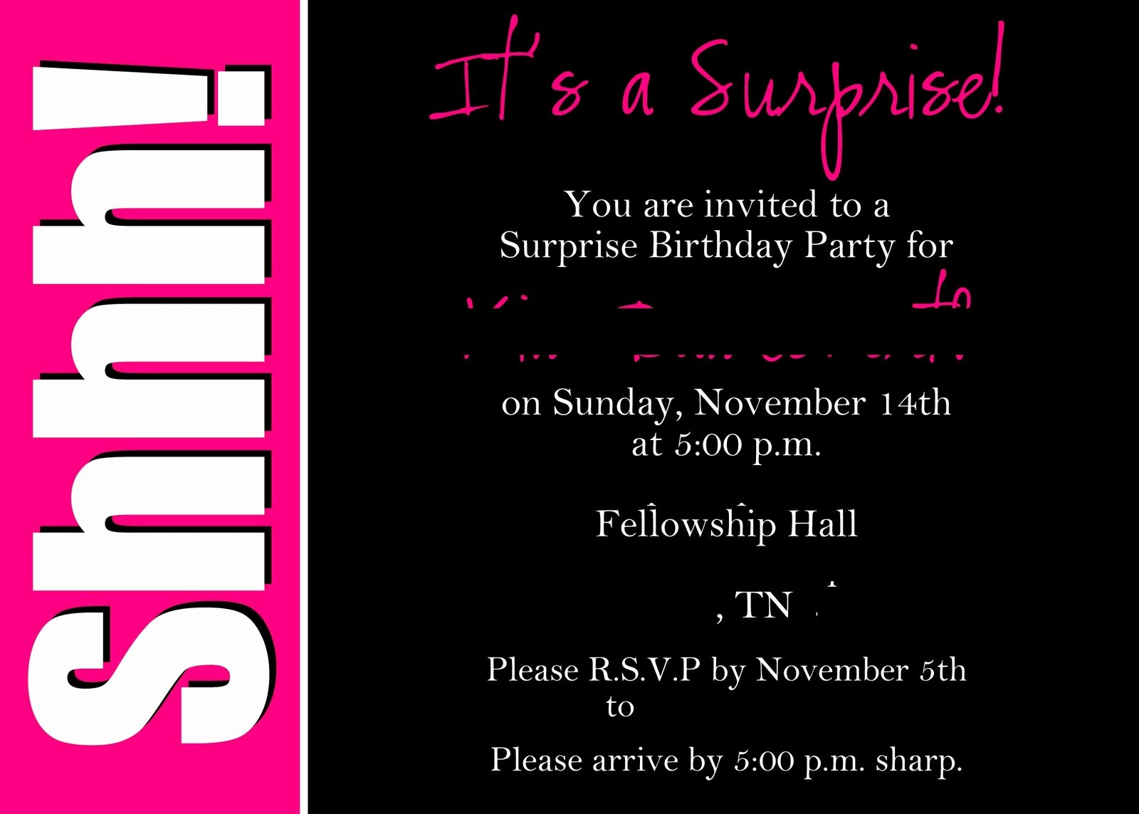 Surprise Party Invitations Templates Free Luxury Alicia S Delightful Designs Shhhh It S A Surprise