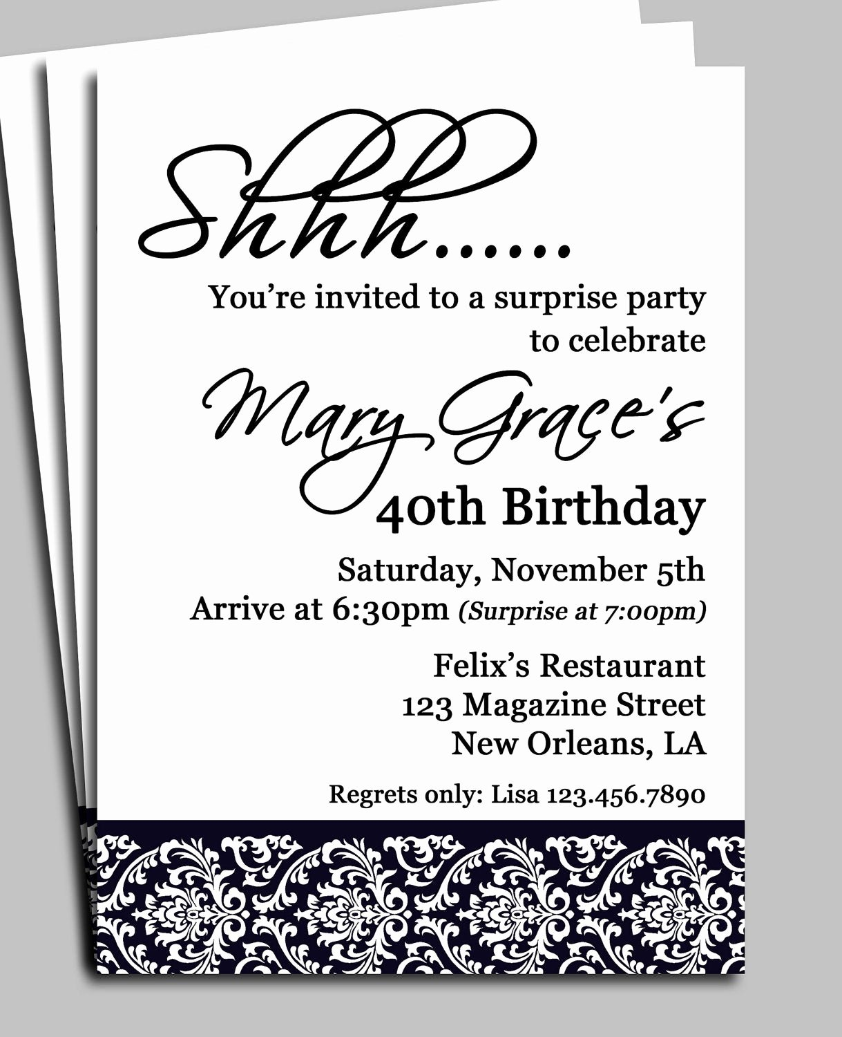 Surprise Party Invitations Templates Free Luxury Black Damask Surprise Party Invitation Printable or Printed