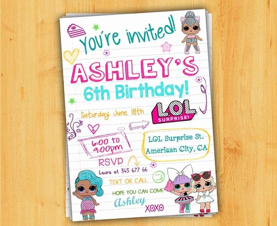 Surprise Party Invitations Templates Free Unique Lol Surprise Birthday Invitation Lol Surprise Invitationlol