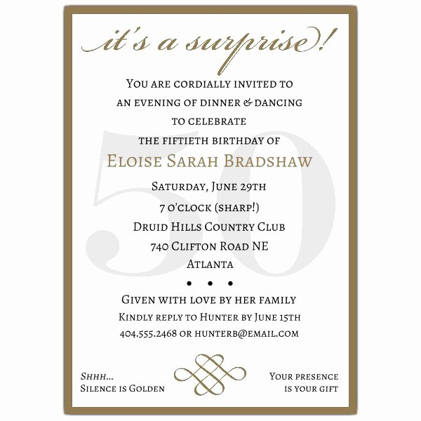 Surprise Party Invites Templates Awesome Classic 50th Birthday Gold Surprise Party Invitations