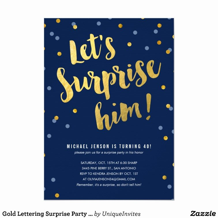 Surprise Party Invites Templates Awesome Gold Lettering Surprise Party Invitations for Him
