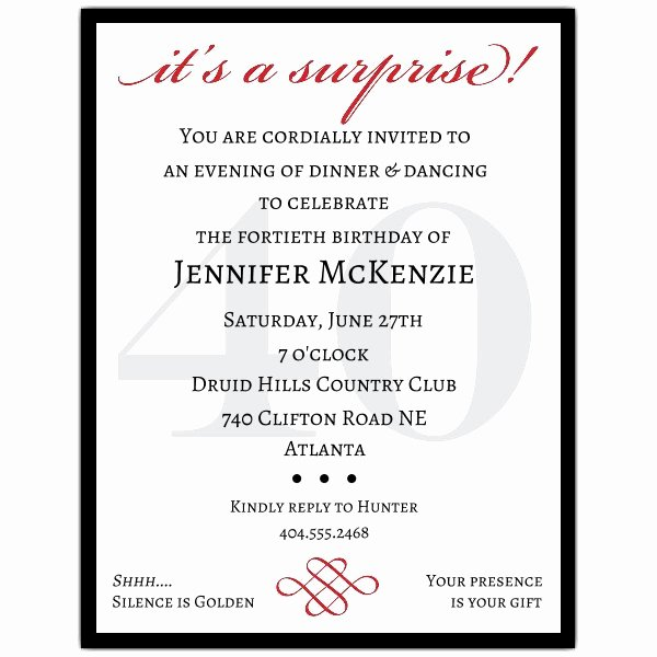Surprise Party Invites Templates Awesome Petite Classic 40th Birthday Surprise Party Invitations