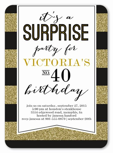 Surprise Party Invites Templates Lovely Striped Surprise Birthday Party Invitation