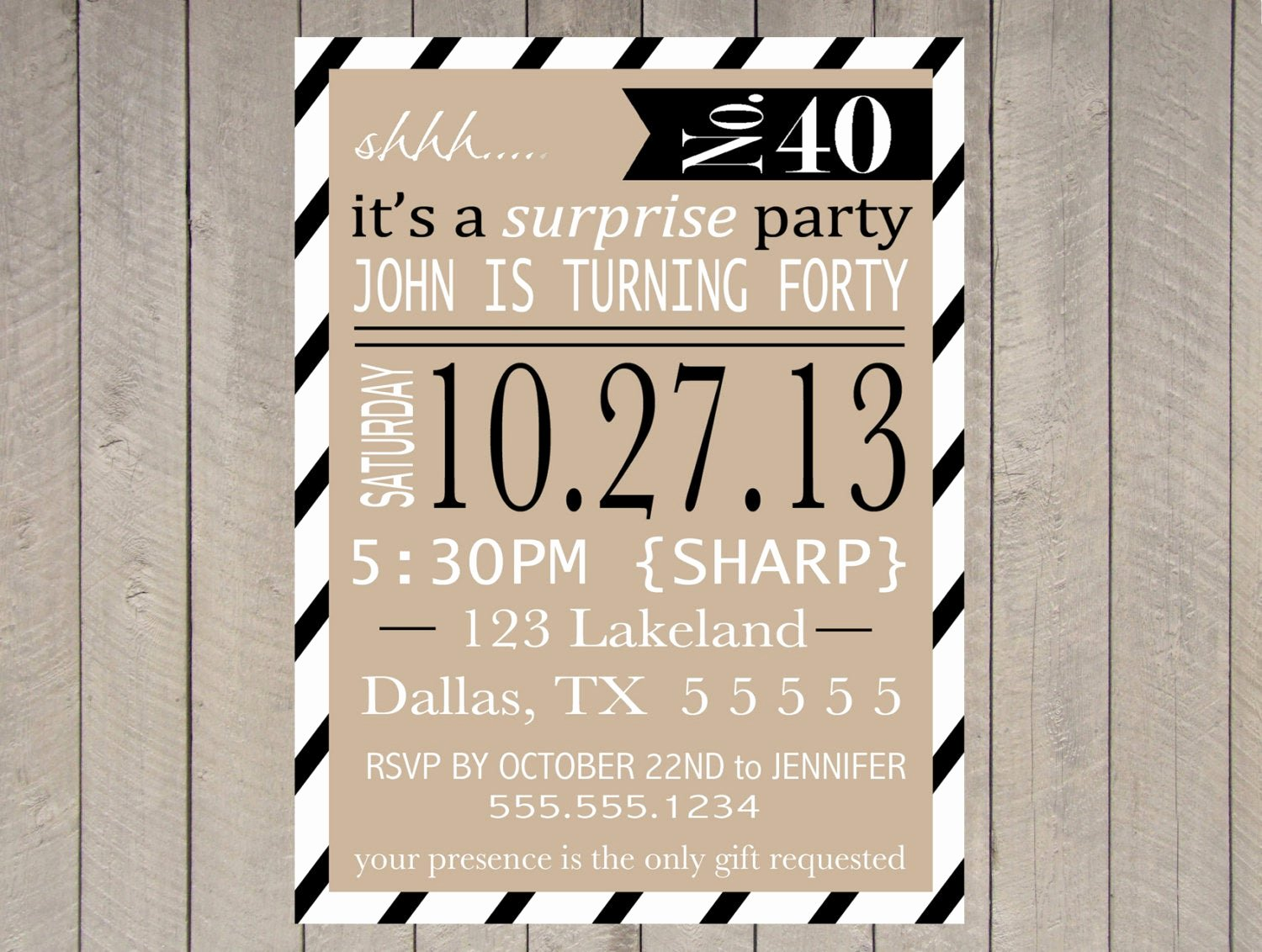 Surprise Party Invites Templates Luxury Items Similar to Adult Surprise Party Invitation Printable 40th Birthday 50th 60th Typography