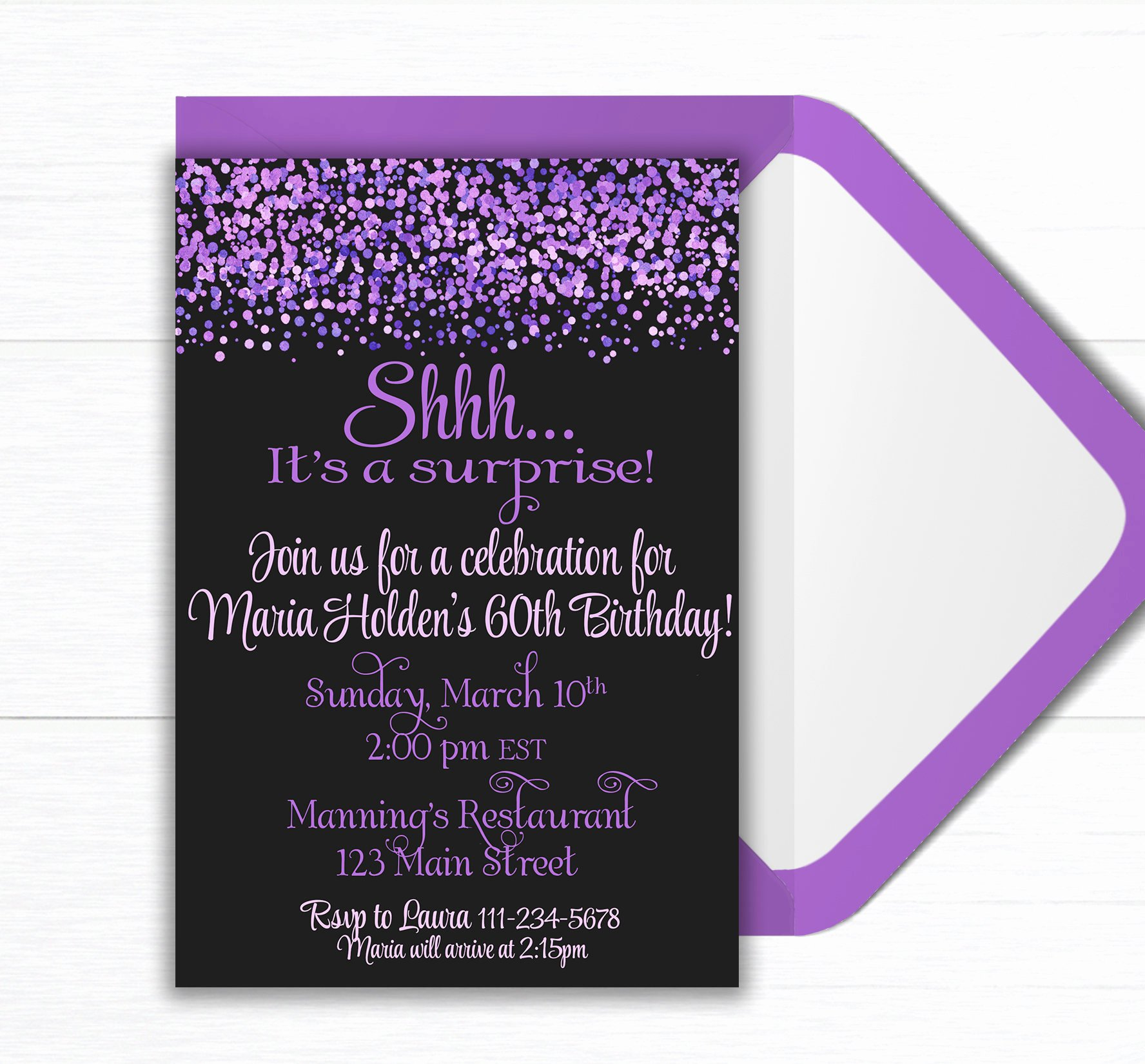Surprise Party Invites Templates Luxury Surprise Birthday Party Invite Birthday Party Invitation Confetti Birthday Party Party