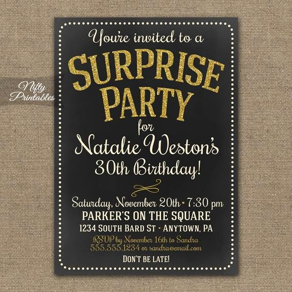 Surprise Party Invites Templates Luxury Surprise Party Invitations Printable Chalkboard Surprise