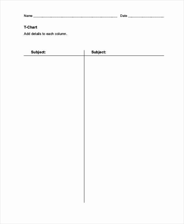 T Chart Template Word Unique T Chart Templates 6 Free Word Excel Pdf format Download