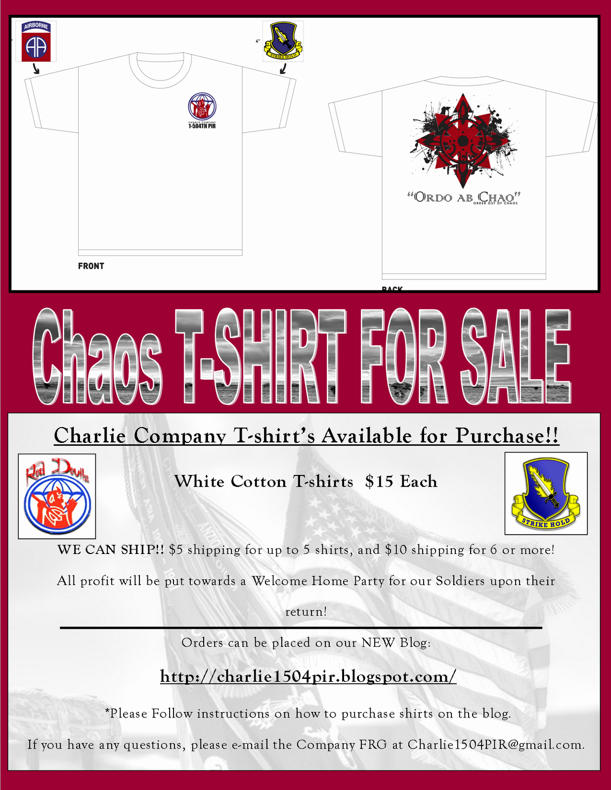 T Shirt Fundraiser Flyer Awesome Chaos Pany
