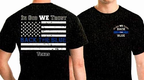 back blue t shirt fundraiser