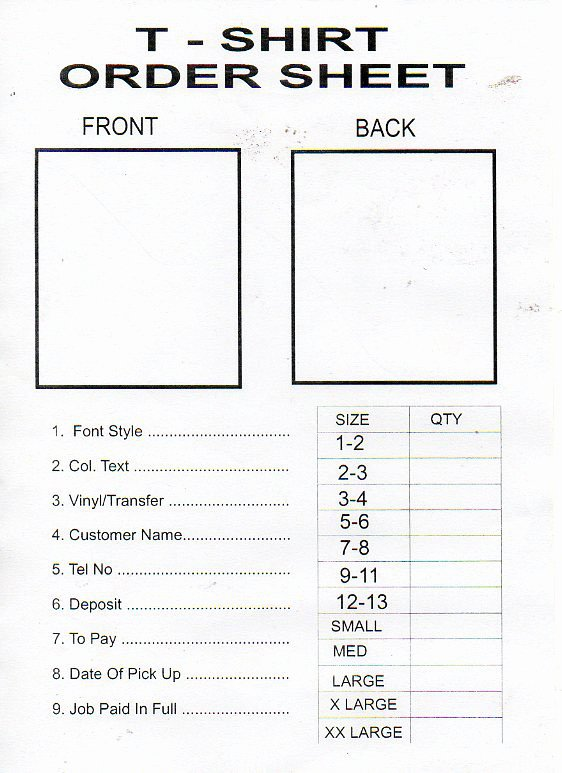 T Shirt order form Doc Luxury forge Colour Print Centre Tee Shirt Printing
