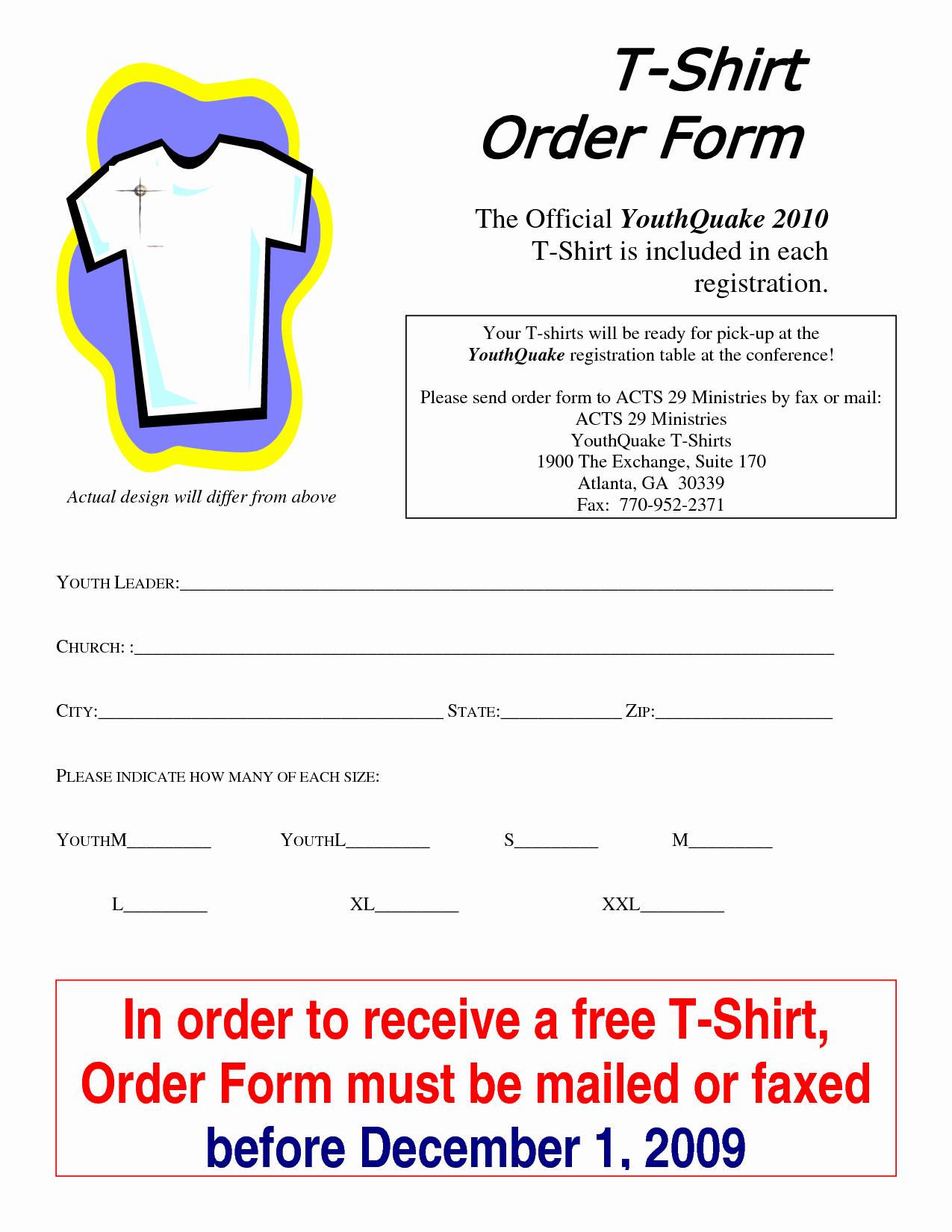T Shirt order form Doc Unique T Shirt order form Template