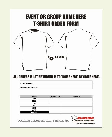T Shirt order form Pdf Best Of T Shirt order form Template