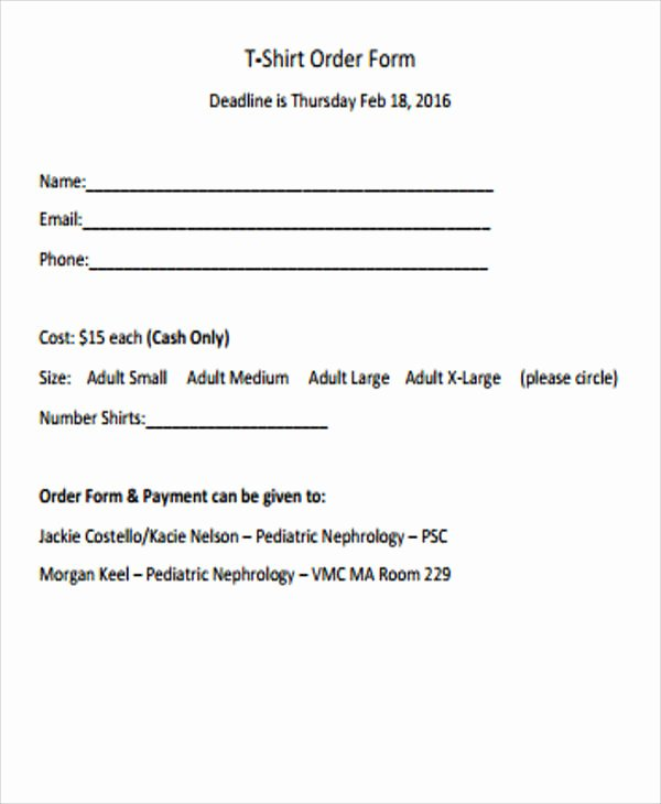 T Shirt order form Pdf New Sample Blank order form 9 Examples In Word Pdf