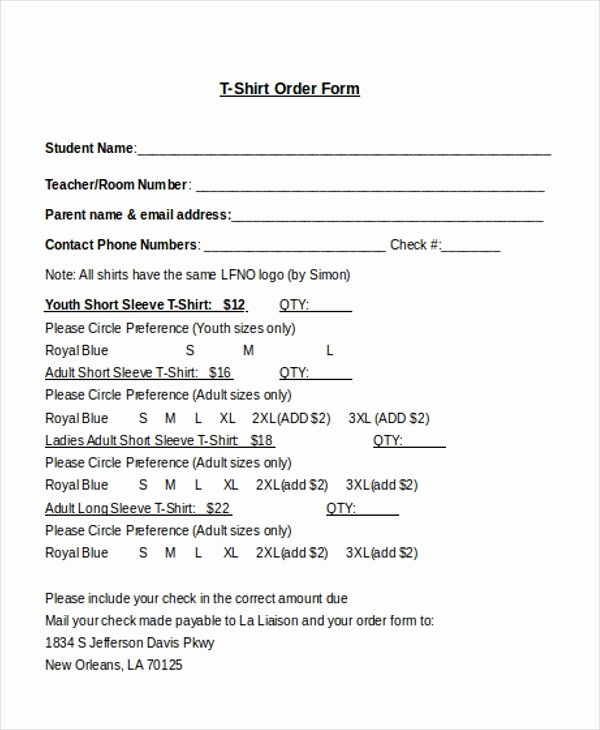 T Shirt order form Word Awesome Free 10 Sample T Shirt order forms In Doc