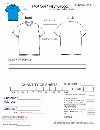 T Shirt order form Word Beautiful T Shirt order form Template
