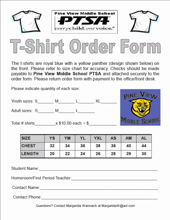 T Shirt order form Word Elegant Printable T Shirt order forms Templates