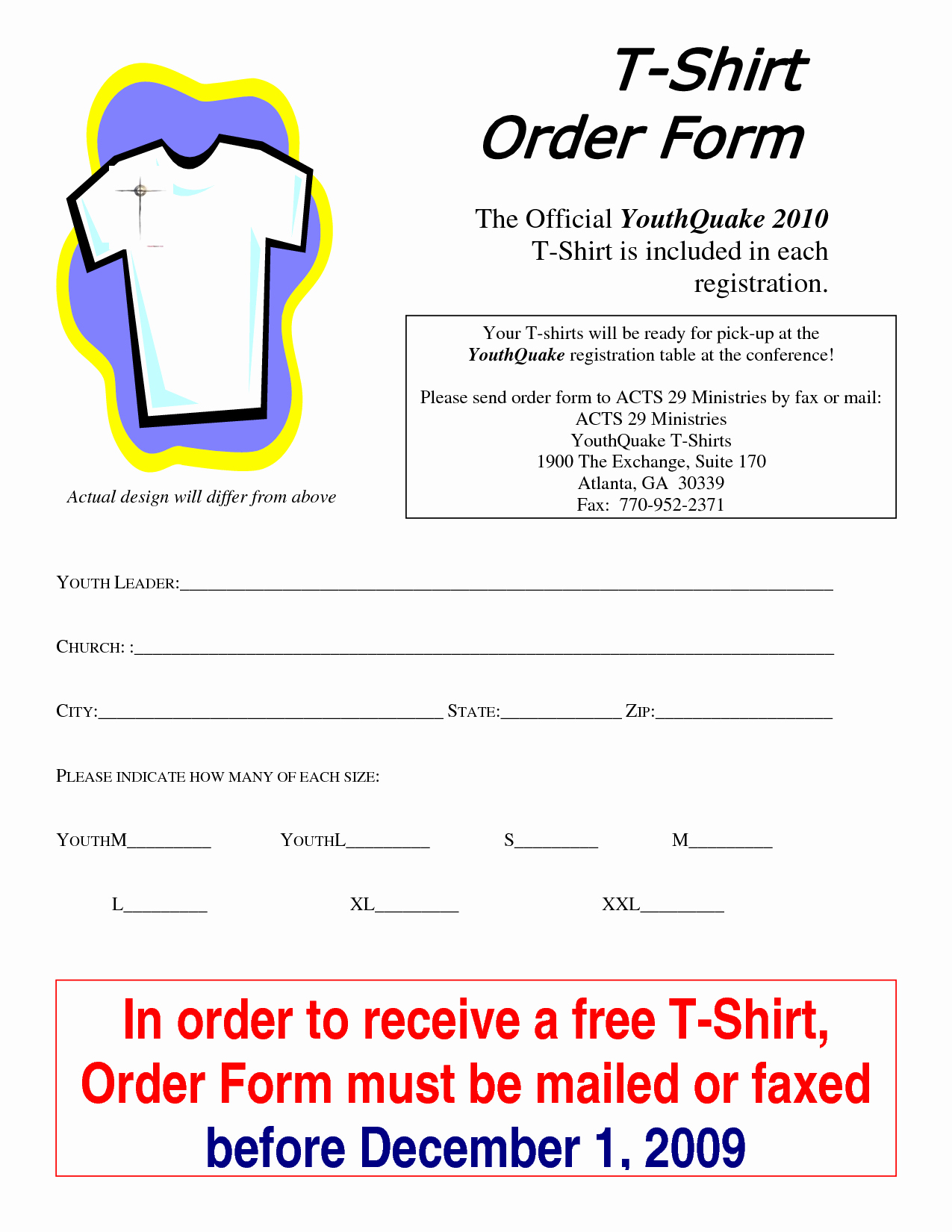 T Shirt order form Word Inspirational T Shirt order form Template