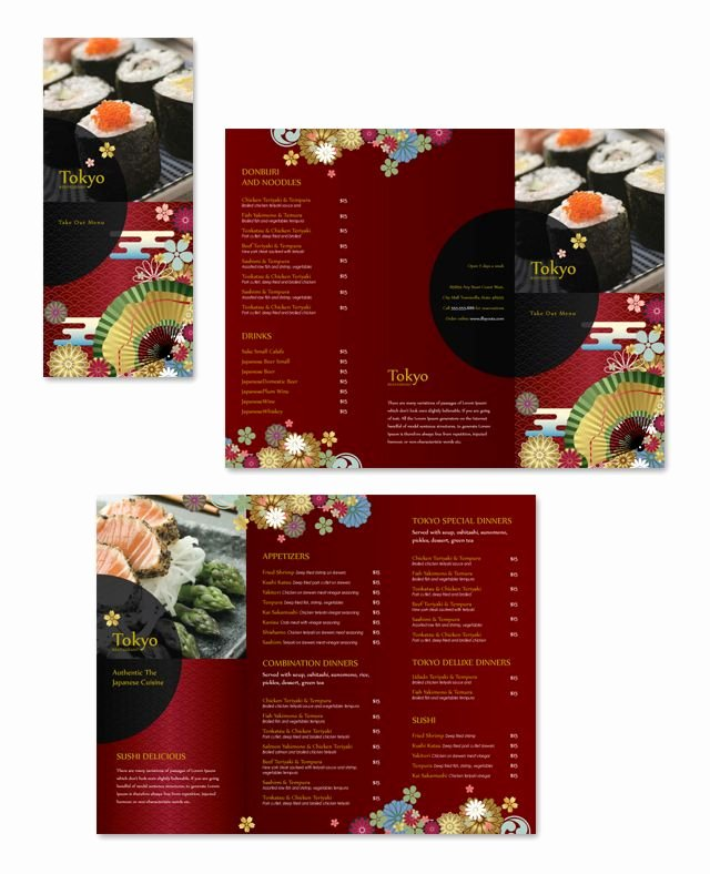 Take Out Menu Design Awesome Japanese Restaurant Take Out Menu Template