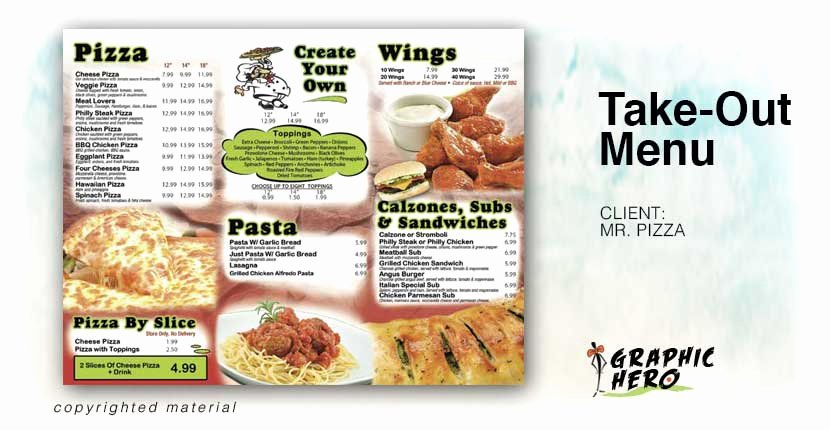 Take Out Menu Design Awesome Print Design Graphic Hero