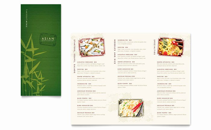 Take Out Menu Design Beautiful asian Restaurant Take Out Brochure Template Design