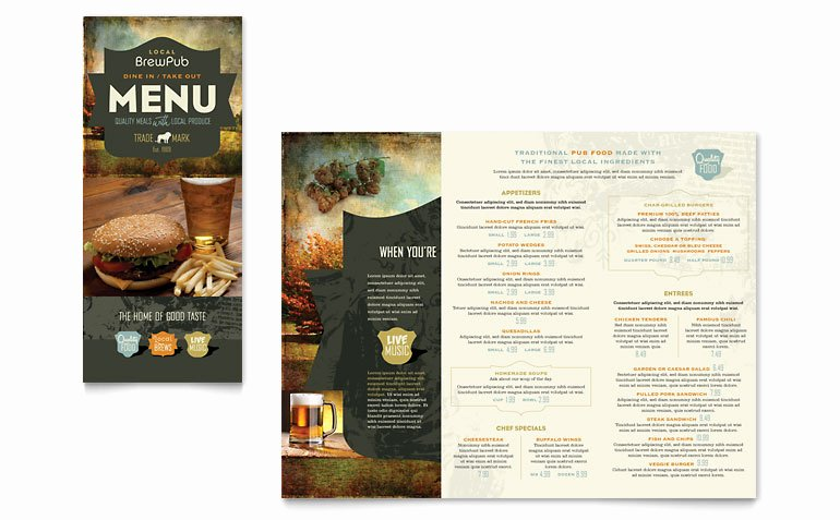 Take Out Menu Design Beautiful Brewery & Brew Pub Take Out Brochure Template Word