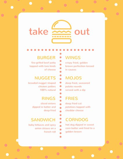 Take Out Menu Design Beautiful Customize 24 Take Out Menu Templates Online Canva