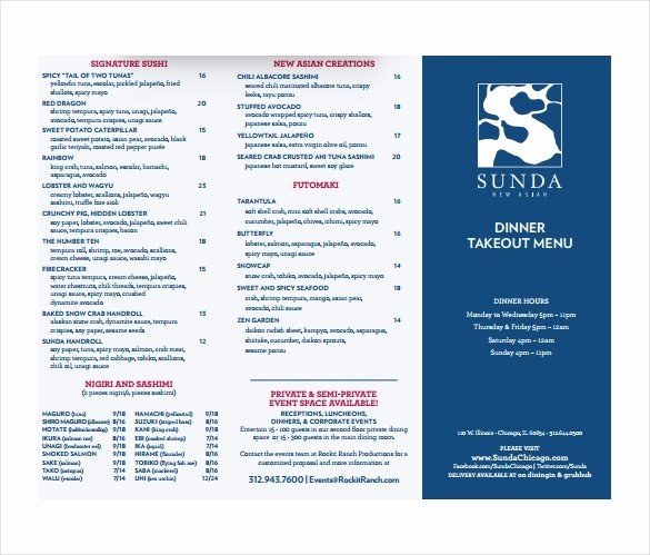 sample take out menu