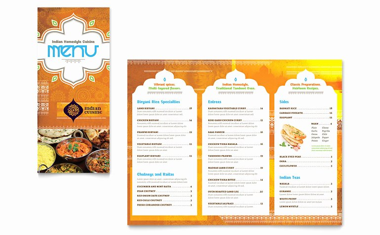 Take Out Menu Design Fresh Indian Restaurant Take Out Brochure Template Word