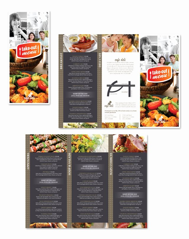 Take Out Menu Design New New Cafe Deli Take Out Tri Fold Menu Template
