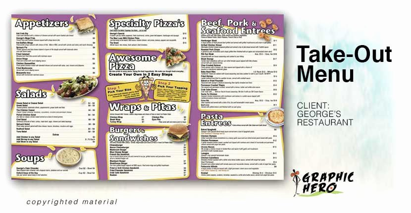 Take Out Menu Design New Portfolios Graphic Hero
