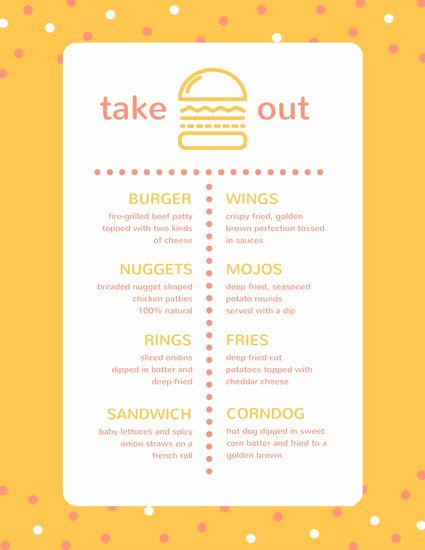 Take Out Menu Design Unique Take Out Menu Templates Canva