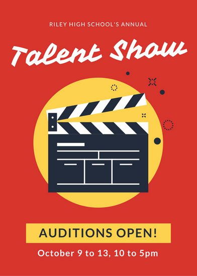 Talent Show Flyer Template Beautiful Red and Yellow Talent Show Flyer Templates by Canva