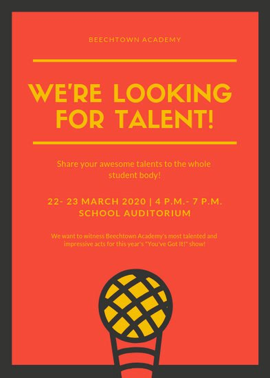 Talent Show Flyer Template Free Lovely Customize 73 Talent Show Flyer Templates Online Canva