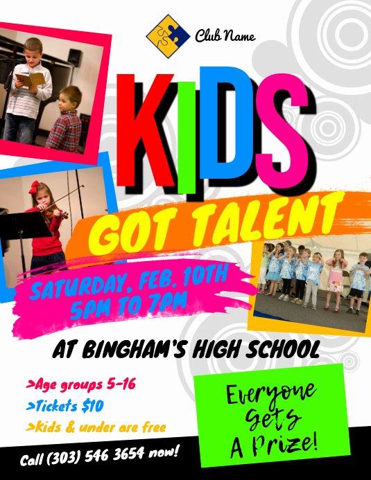 kids got talent flyer design template