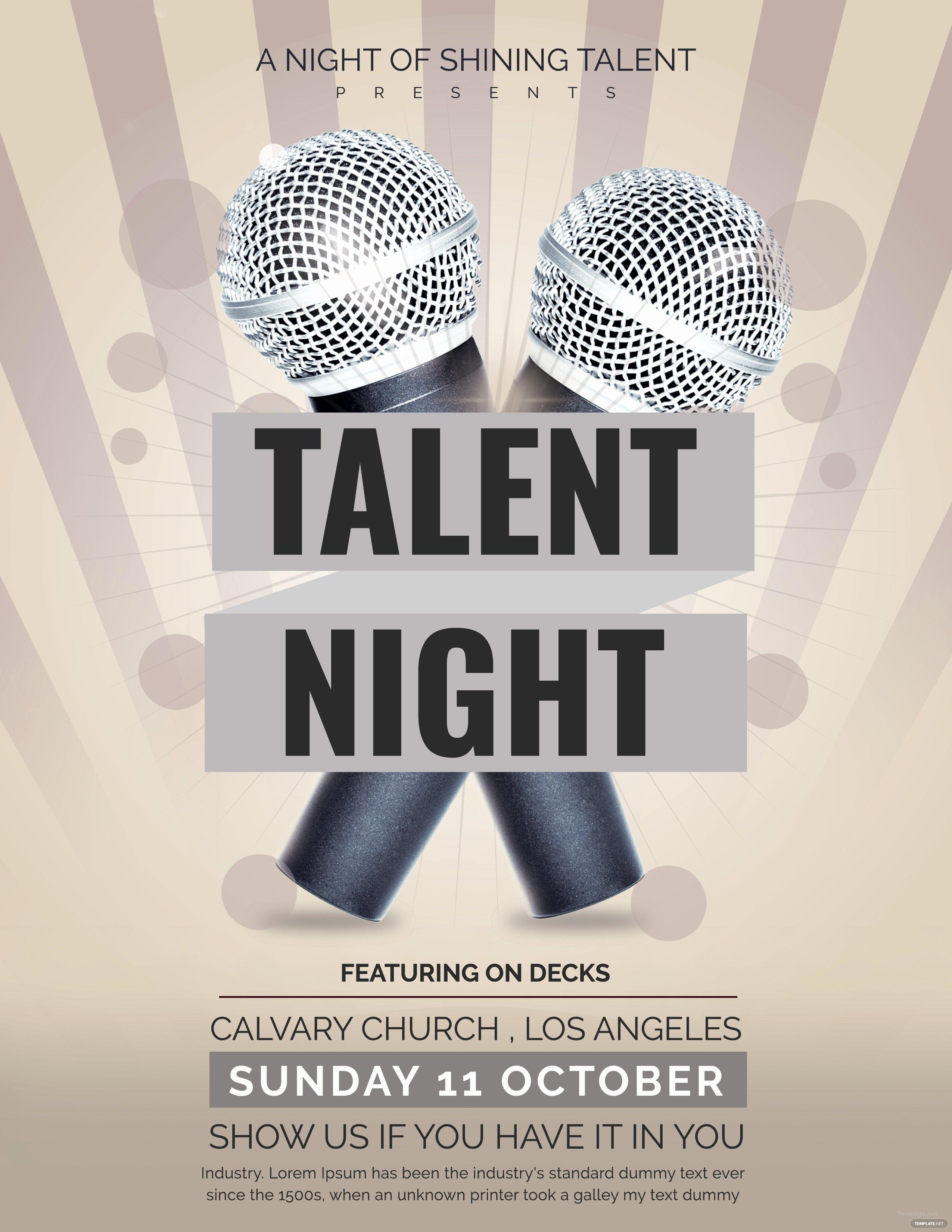 Talent Show Flyer Template Unique Free Talent Show Flyer Template In Adobe Shop Illustrator