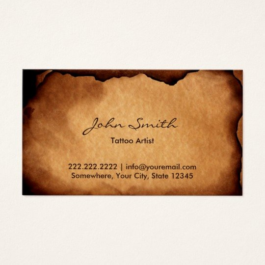 Tattoo Artist Business Cards Awesome Vintage Old Burned Paper Tattoo Art Business Card