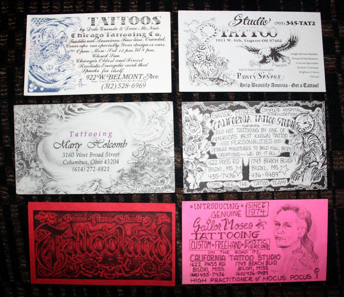 jay brown 25 years of tattoo business cards