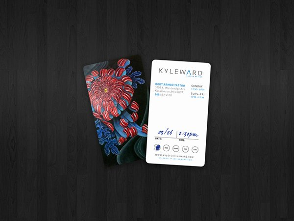 Tattoo Artist Business Cards Elegant Kyle Ward Tattoo Artist On Behance