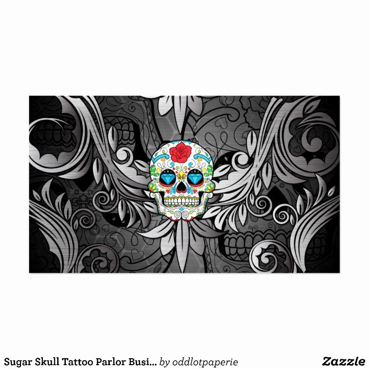 Tattoo Shop Business Cards Awesome Sugar Skull Tattoo Parlor Business Card