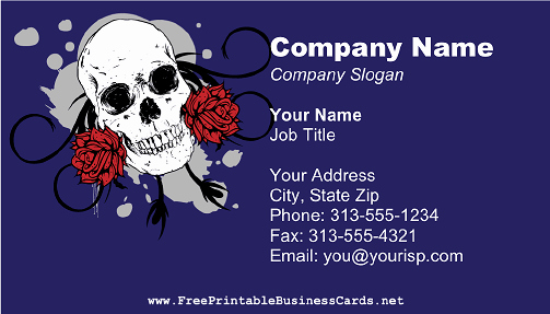 Tattoo Shop Business Cards Elegant Skull and Roses Business Card